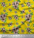 Soimoi Gelb Seide Stoff Blätter & Anemone Blumen- gedruckt