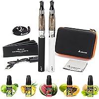 Preisvergleich für Salcar® Elektronische Zigarette Doppelset Update | 2 x Ego E Zigarette mit 1100mAh Akku + 5 x 10ml E-Liquid von...