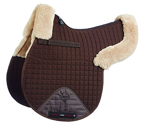 LeMieux Lambskin GP/Jumping Half Lined Numnah - Taupe Wool/Brown Fabric, Medium 1