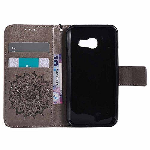 Custodia Galaxy A3 2017 - Dfly Premium PU Goffratura Mandala Design pelle Invisibile Forte chiusura magnetica Design Flip Cover, Per Samsung Galaxy A3 2017, Marrone Grigio