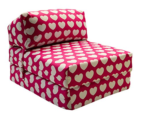Magnificent Gilda Jazz Chairbed Kids Prints Deluxe Single Chair Z Bed Futon Pink Hearts Theyellowbook Wood Chair Design Ideas Theyellowbookinfo
