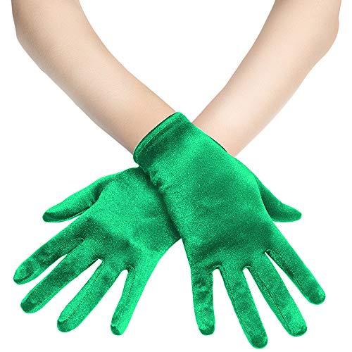 Coucoland Damen Handschuhe Satin Classic Opera Fest Party Audrey Hepburn Handschuhe 1920s Handschuhe Damen Lang Kurz Elastisch (Grün/22cm)