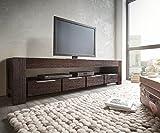 DELIFE Fernsehtisch Blokk Akazie Tabak 200 cm 1 Fach 4 Schübe Massivholz Lowboard