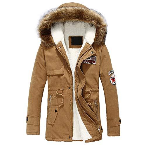 UJUNAOR Herren Hoodie Mittlerer Langer Mantel Mit Kapuze Reißverschluss Winter Dick Baumwollmantel M bis 4XL(Khaki,EU 3XL/CN 4XL)