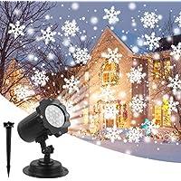 Proyector de Navidad Decoracion Luces Luz en Blanco Copo de Nieve Lámpara de Proyector, Paisaje de Proyección Luces LED Impermeable de Interior exterior Día de Fiesta de Navidad Jardín Decoración