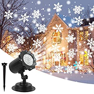 Luce Natale Proiettore Decorazioni Luci Natale Esterno Proiettore Lampada Luce Fiocchi di Neve Decorativi Spotlight di… 9 spesavip