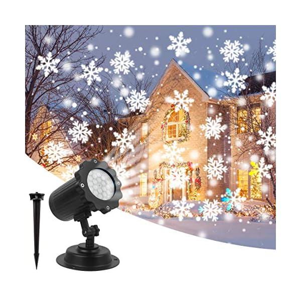 Luce Natale Proiettore Decorazioni Luci Natale Esterno Proiettore Lampada Luce Fiocchi di Neve Decorativi Spotlight di… 1 spesavip