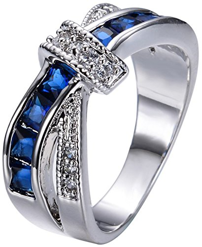SaySure 10KT White Gold Filled Sapphire Anniversary