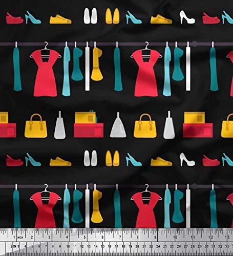 Soimoi Schwarz Poly Krepp Stoff Schuhe, Handtasche und Kleider Frau gedruckt Craft Fabric 1 Meter 52 Zoll breit - Schwarze Krepp-kleid