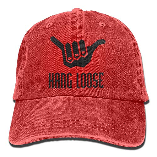 ghkfgkfgk Vintage Cotton Denim Cap Baseball Hat Hang Loose Six-Panel Adjustable Trucker Dad Hat for Adults Unisex - Hang-panels