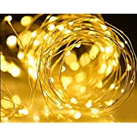 2 Pack Solar Powered String Lights, 100 LED Copper Wire Lighting, Starry String Light, Waterproof Solar Decoration Lamp for Gardens, Home, Dancing, Party (Warm White)