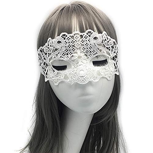 Yazilind Venezianische Maske Damen Spitze Augenmaske Gothic Maskerade Gesichtsmasken für Maskenball Kostüm Karneval Party Weiß