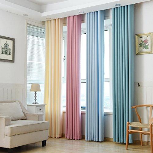 Chlove Blickdichte Vorhänge Isolierter Gardine Fenster Schal mit Ösen für Schlafzimmer Wohnzimmer 175x140cm/245x140cm ( H X B ) 1er-Set Reine Farbe (245 x 140 cm, Gelb)