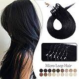 Extension a Froid Cheveux Naturel Rajout Micro Anneaux 100% Cheveux Humain - Micro Ring Loop Remy Hair Extensions 100 Mèches 50g (#1 NOIR FONCE, 16 Pouce/40CM)