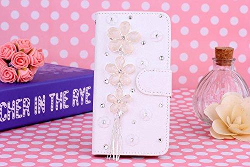 Coque iPhone 5C , iNenk® Sac à main Case w/carte ID titulaire blanc luxe 3D la main paillettes Bling diamant perle Crystal portefeuille pochette carte-Danse Fille Gland Fleurs