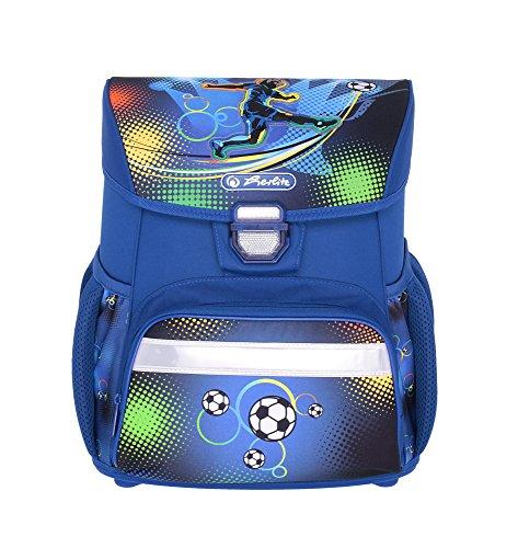 herlitz 50007950 Schulranzen Loop Plus, Klickschloss, ergonomisches Rückenpolster, 16-teiliges Schüleretui, Sportbeutel, Faulenzer rund, Motiv: Soccer, 1 Stück - 2