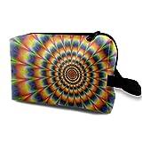 Hippy Tie Dyed Radial Pattern Portable Travel Makeup Bag,Storage Bag Portable Ladies Travel Square Cosmetic Bag
