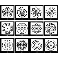 KOBWA - Plantillas de Punto, diseño de Mandala, 12 Unidades, para Pintar Sobre Madera, aerógrafo y Pared