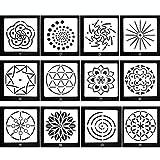 KOBWA Lot DE 12Mandala Dotting Pochoirs Modèle, Mandala Dotting Pochoirs pour Peinture sur Bois, aérographe et Les Murs Art...