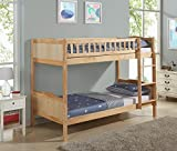 Children's Pine Bunk Bed Frame Single 3FT with Full Panel Headboard (Natural)