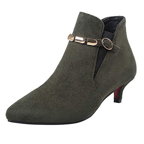 OSYARD Bottes Cuissardes Femme Talons Hauteur Genoux Sexy Cuissardes Daim Bottines Chaud Chaussures(Vert,38.5 EU)