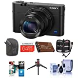 Sony Cyber-Shot DSC-RX100 IV Digital Camera, Black - Bundle with 64GB Class 10 SDXC Card, Camera Case, Spare Battery, Table Top Tripod, Memory Wallet, Cleaning Kit, Software Package