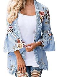 1fdf14d3c519e FNKDOR Spring Fashion Women Lace Floral Open Cape Casual Coat Loose Blouse  Kimono Jacket Cardigan Tops