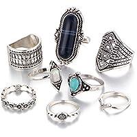 LUFA Anillos retros determinados del anillo común 8pcs / set para el anillo de la conjunción del nudillo de la piedra preciosa de las mujeres de los hombres fijados