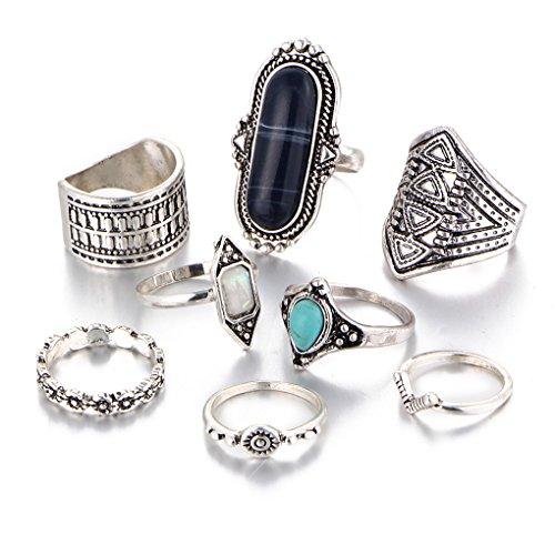 Foto de LUFA Anillos retros determinados del anillo común 8pcs / set para el anillo de la conjunción del nudillo de la piedra preciosa de las mujeres de los hombres fijados