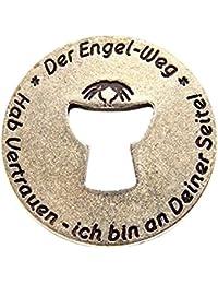 """Talisman pendentif ou disque avant et arrière marqués sur l'allemand et l'anglais """"The Way Angel"""" """"trust me-i am on your side"""" disque Diamètre 28 mm"""
