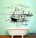 Wandtattoo Wandaufkleber Warnemünde Leuchtturm maritim M1487 - ausgewählte Farbe: *Dunkelgrau* ausgewählte Größe:*S 80cm breit x 46cm hoch