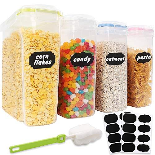 BAKHK 4 Vorratsdosen Set Frischhaltedosen 4L Kunststoff Vorratsbehälter Aufbewahrungsdose mit Aufklebern und Bürste für Getreide, Mehl, Zucker usw.