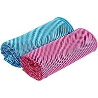 HOGAR AMO 2er Kühltuch Kühlhandtuch Eiskalt Kühlen für Gym Golf Yoga Laufen Sports im Freien Maschinen-Waschbar/Arbeiten in der Heißen Umgebung( 30 * 100CM