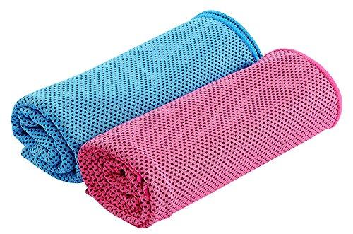 HOGAR AMO Kühltuch 2St. Kühlhandtuch Eiskalt Kühlen für Gym Golf Yoga Laufen Sports im Freien Maschinen-waschbar/Arbeiten in Einer Heißen Umgebung 30 x100cm - Im Freien Sport