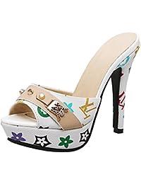 YE Damen Chunky Heels Sandalen mit Blockabsatz und Perlen Pantoletten Offen Mules Open Toe Outdoor Slipper Schuhe