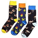 Oottati Skateboard Socken Herren - 3 Paare - Gemustert Und Bunt - Eu 40-47 Animal Sloth Black Cactus Dunkelblauer Strauß