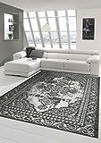 Moderner und Designer Teppich Orientteppich mit Bordüre in Grau Silber Größe 160x230 cm