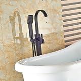 Galvanik Retro Wasserhahn Floor Mount einzigen Griff Badewanne Armatur Wasserhahn freistehende Badewanne mit abnehmbarem Duschkopf Einfüllstutzen Öl eingerieben Bronze, Weiß