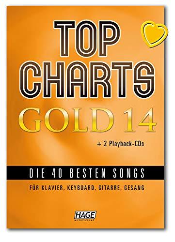 Top Charts Gold 14 (mit 2 CDs) - Die 40 besten Songs für Klavier, Keyboard, Gitarre und Gesang - Songbook mit bunter herzförmiger Notenklammer