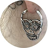Toporchid Vintage Punk Style Skull Face Earrings Hollow Skull Stud Earrings Hook (silver)