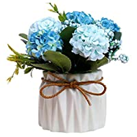 Ramo de Flores Artificiales de Seda con jarrón de cerámica ...