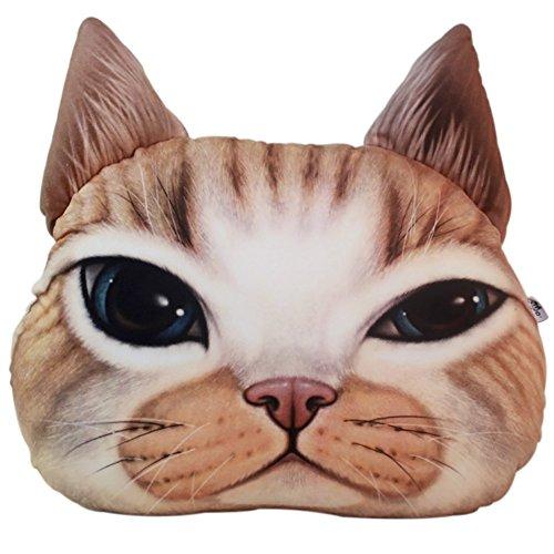chezmax Cute 3D Gefülltes Plüsch Katze Kopf Form Kissen Soft Stuhl Sofa Rücken Kissen Spielzeug Play Überwurf Kissen Home Dekoration, Gemischt, Yellow Cat, 1 Pieces