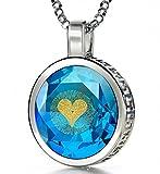 925 Sterling Silber Ich Liebe Dich Halskette Graviert in 120 Sprachen mit 24k Gold auf 16mm Zirkonia Anhänger in Hell-Blau, 45cm Silberkette