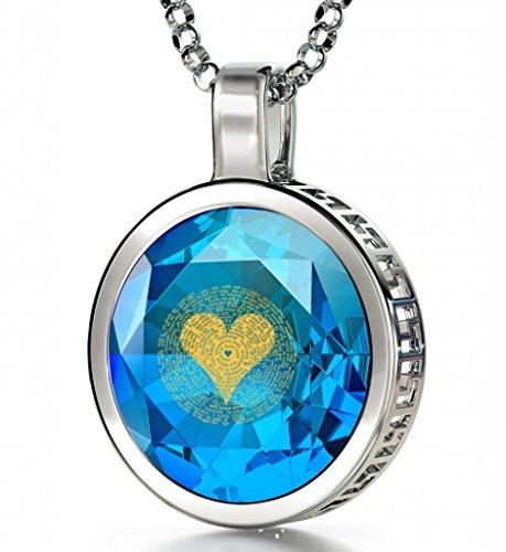 Collier Romantique - Pendentif en Argent fin avec Je t'aime en 120 langues inscrit en Or 24ct sur Zircon Cubique, 45cm - Bijoux Nano Bleu Lagon