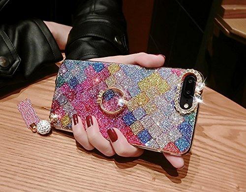 360 Grad Ring Ständer Flex Handyhülle Sunroyal Handyhülle für iPhone 7 Plus (5.5 zoll) Diamant Bling Schutzhülle Ultra Dünn Handytasche Soft Hülle Stoßdämpfende Kristallklar Tasche Leichte TPU Silikon A05