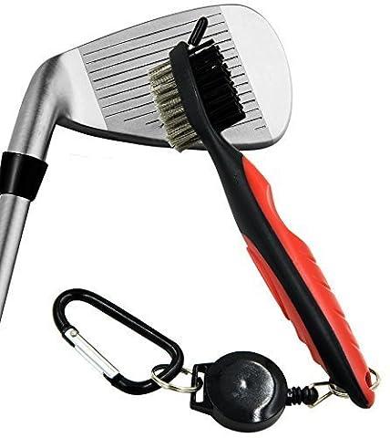 Nktm Brosse Golf Club Groove Cleaner, brosse à poils en nylon et fil double face, 25,8en rétractable VIRB Elite Mousqueton, design ergonomique léger se fixe facilement sur la Sac de golf, Red