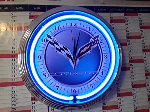 Neon clock New Corvette C7Garage Sign Wall Clock Blue Neon Rim Neon Orologio illuminazione blu Workshop Wall Clock Blue Neon officina Orologio da parete Neon reklame USA 50's Style