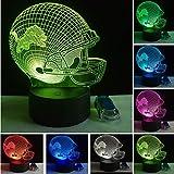 Veilleuse Optical Illusion Lamp Fantaisie 3D Football Équipe Sportive Casquette Lion Casque Led 7 Couleur...