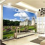 Fototapete 3D Wandbild Großes Wandbild Schlossgarten Schöne Landschaft Tapete Wohnzimmer Fernseher Hintergrund Wandbild Großes Wandbild