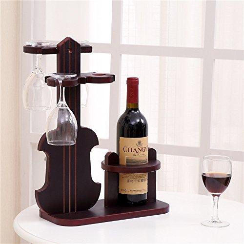 IKUN-JJ Weinregal Klassisch 1 Flasche Und 4 Gläser Weinhalter Redwood Geige Möbel...